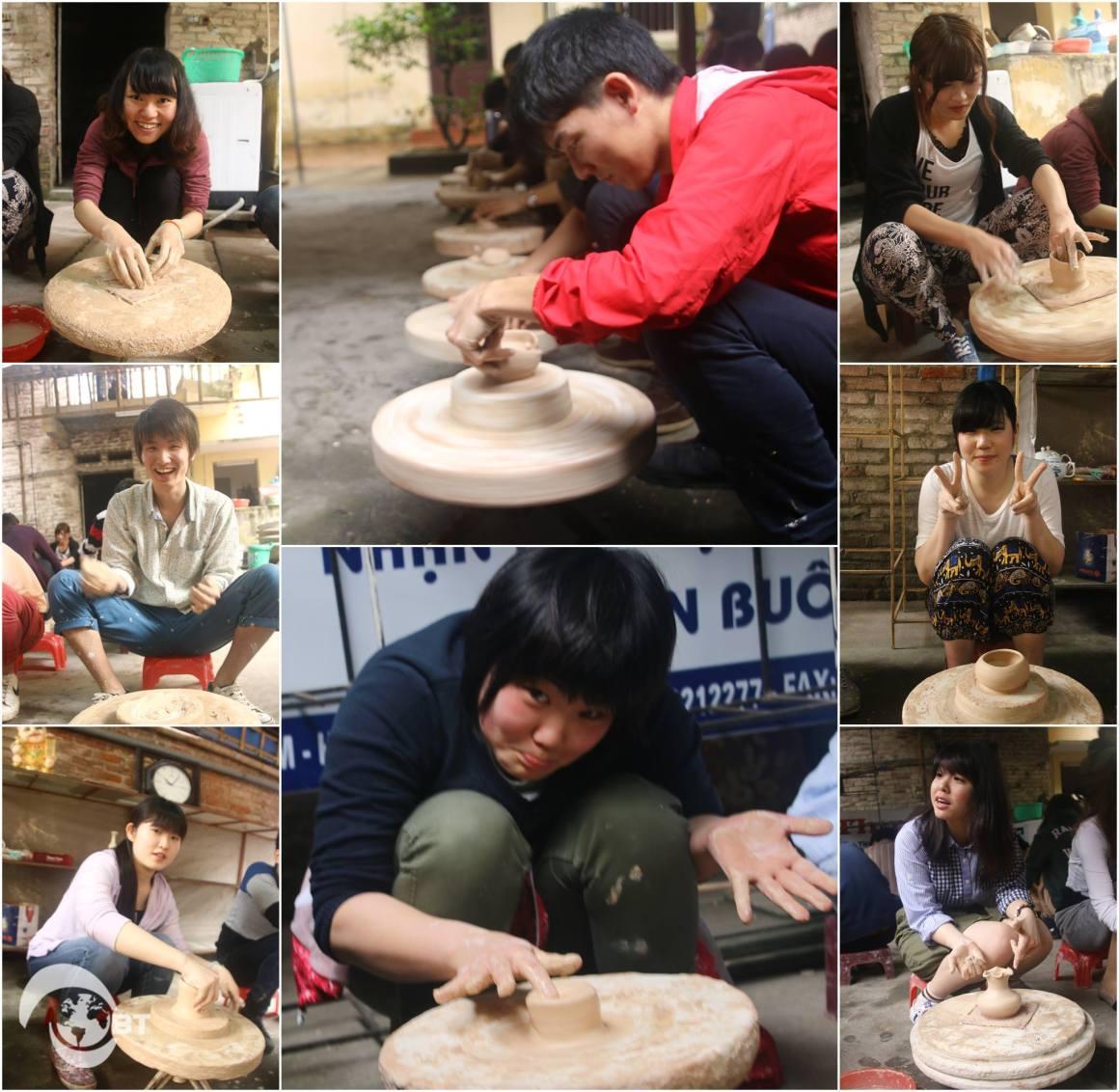 Ngày 15/3, đoàn cũng có cơ hội trảo nghiệm học cách làm gốm tại Làng gốm Bát Tràng.