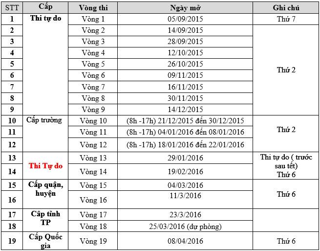 Lịch mở vòng ViOlympic tiếng Việt.